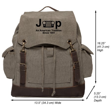 Jeep An American Tradition Vintage Canvas Rucksack Backpack with Leather