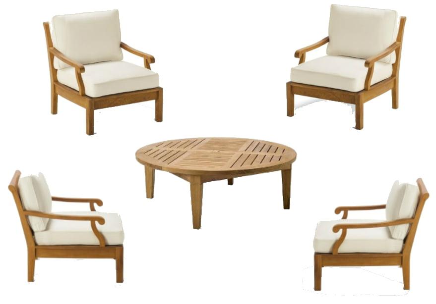 Wholesaleteak Outdoor Patio Grade A Teak Wood 5 Piece Teak Sofa Set 4 Lounge Chairs 1 Round Coffee Table Furniture Only Sack Collection Wmsssk4 Walmart Com Walmart Com