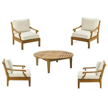 WholesaleTeak Outdoor Patio Grade A Teak Wood 5 Piece Teak Sofa Set 4 Loung