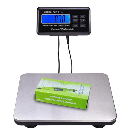 Pelouze Postal Scale - 660lbs LCD Ac Digital Floor Bench Postal Scale Platform Shipping/pet 300kg Weigh
