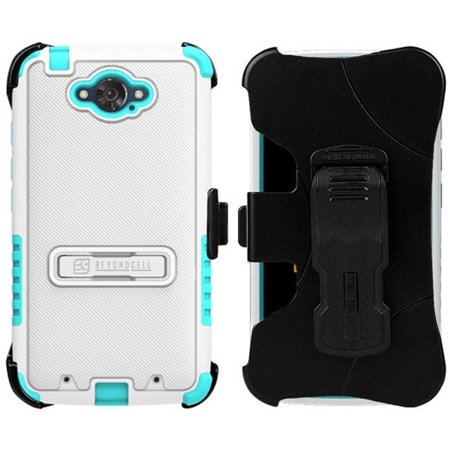 WHITE TURQUOISE RUGGED TRI-SHIELD RUBBER SKIN HARD CASE COVER METAL KICKSTAND + BELT CLIP HOLSTER + SCREEN PROTECTOR FOR MOTOROLA DROID TURBO XT1254 (Fits both Ballistic Nylon and Standard Kevlar MGF)
