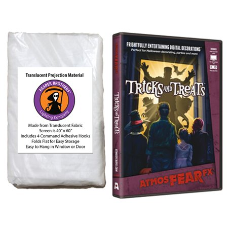 Halloween Digital Decoration DVD and Screen Kit includes AtmosfearFX Tricks and Treats DVD + Reaper Bros 60