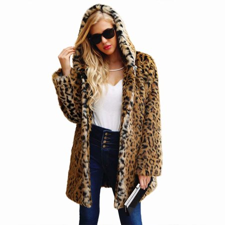 Faux Fur Plush Leopard Print Hooded Women's Coat Winter Warm Artificial Fur Jacket Outerwear