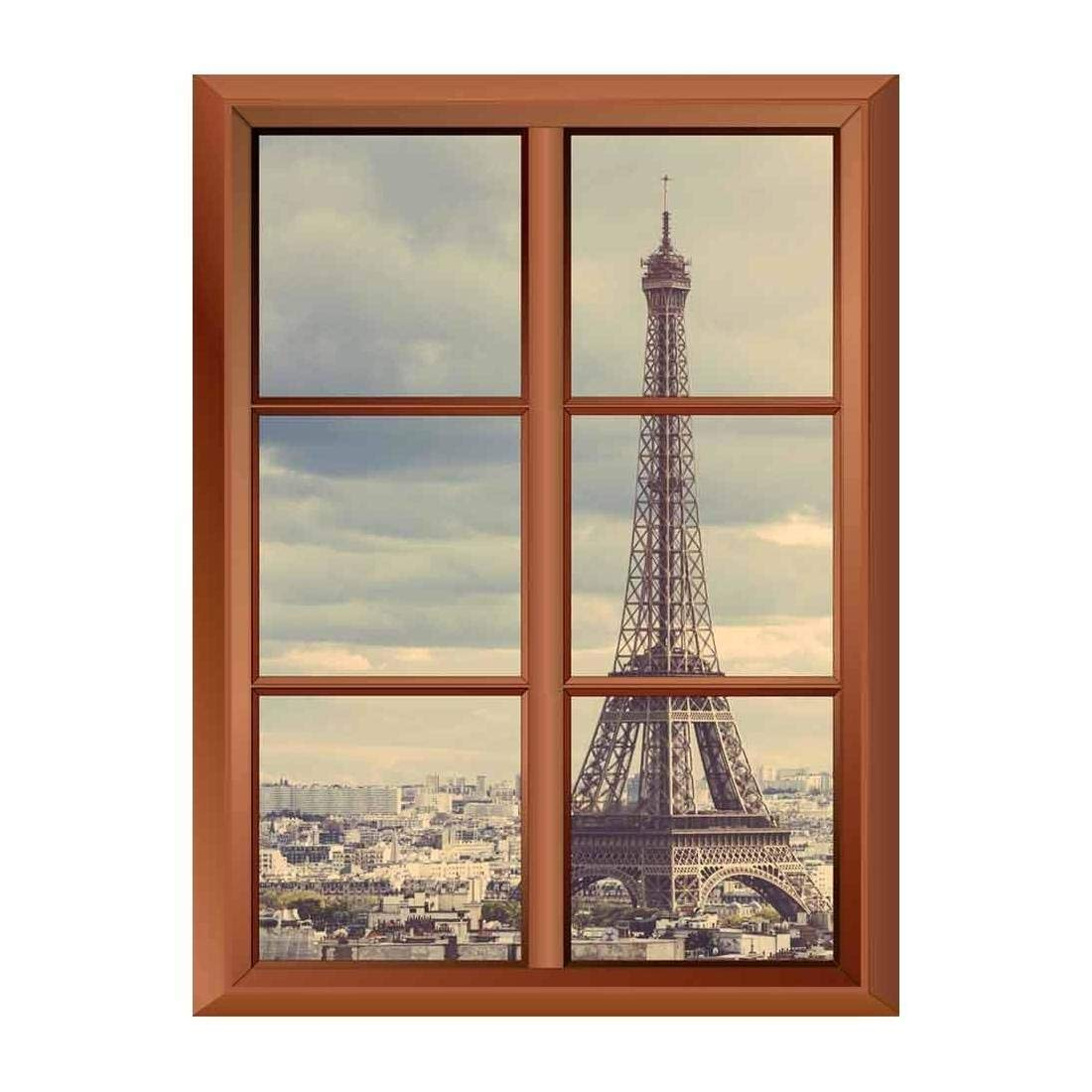 "wall26 Removable Wall Sticker/Wall Mural - Eiffel Tower in Paris - Creative Window View Vinyl Sticker - 36""x48"""