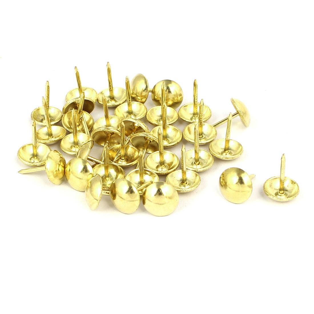 """7/16"""" Dia Metal Upholstery Nail Thumb Tack Push Pin Doornail Gold Tone 35PCS - image 2 of 2"""