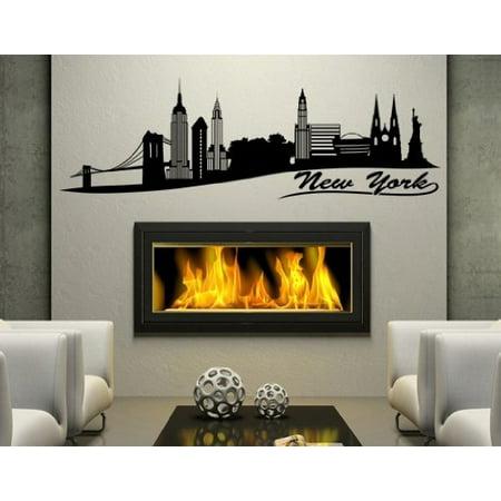 New York II City Skyline Wall Decal Wall Sticker Vinyl Wall Art Home D