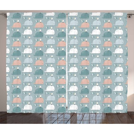 The Giant Cartoon (Whale Curtains 2 Panels Set, Colorful Sea Mammals Giant Fish Swimming in the Ocean with Seagulls Cartoon Design, Window Drapes for Living Room Bedroom, 108W X 84L Inches, Multicolor, by)
