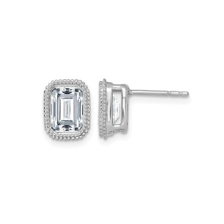 1.95 Carat (ctw) Synthetic Emerald Cut Moissanite Bezel Solitaire Earrings in 14K White Gold (2.00 Carat Diamond Look)