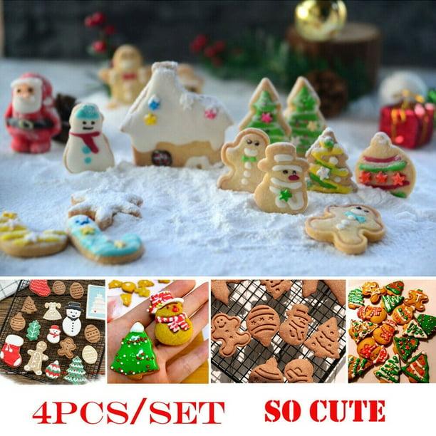 4pcs Christmas Cookie Plunger Cutter Mould Fondant Snowman Xmas Tree Baking Mold Walmart Com Walmart Com