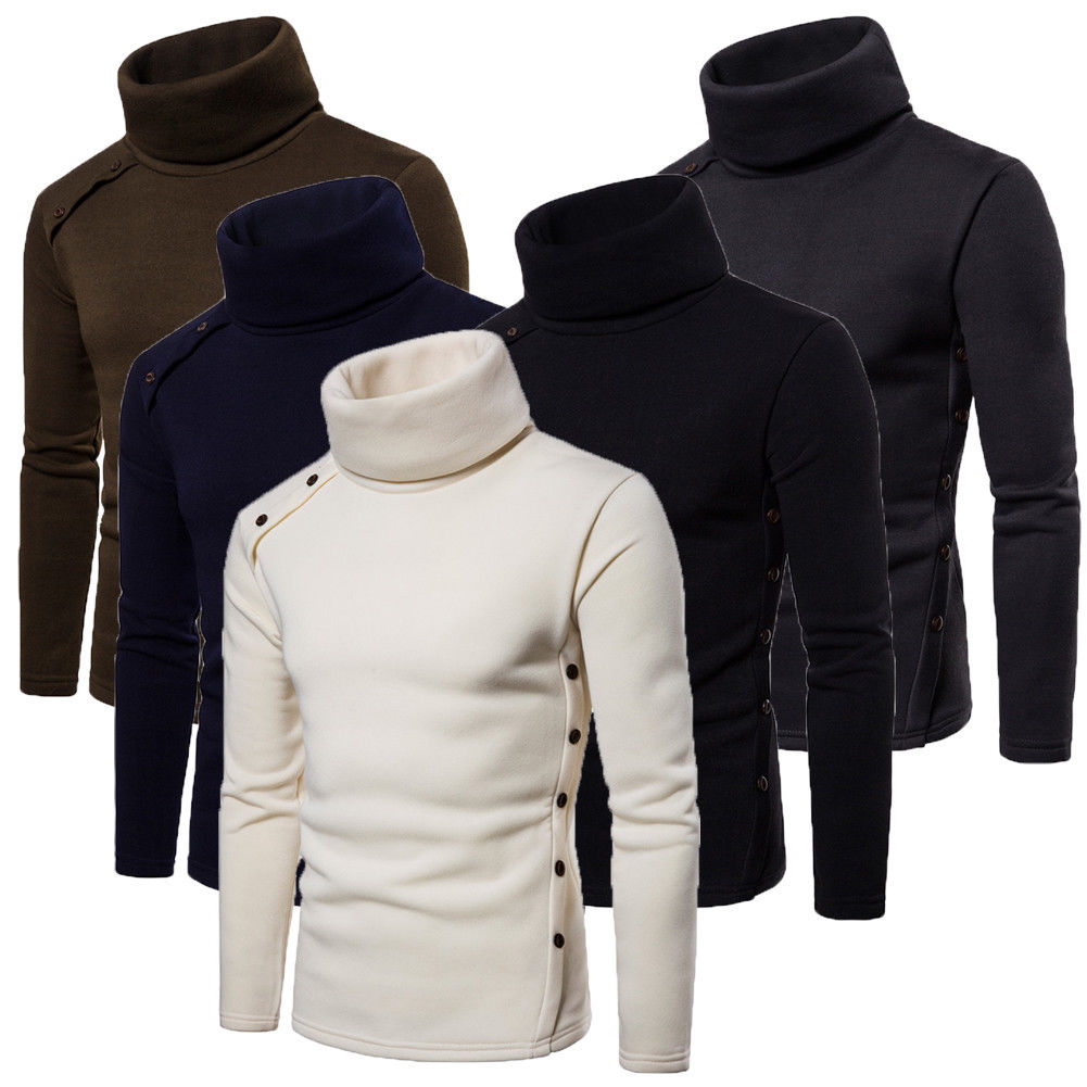 Mens Thermal Cotton Turtle Neck Skivvy Turtleneck Sweaters Stretch