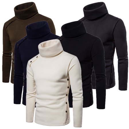 Mens Thermal Cotton Turtle Neck Skivvy Turtleneck Sweaters Stretch Chunky Shirt Tops