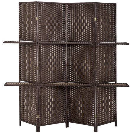 Room Divider 4 Panel Room Screen Divider Wooden Screen Folding Portable Partition Screen Screen Wood With Removable Stoeage Shelves Colour Brown ()