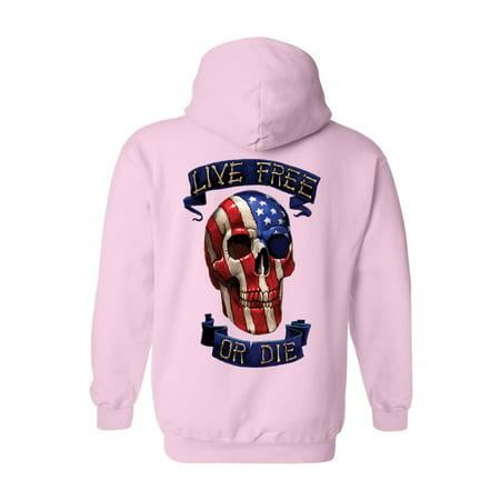 Unisex Zip Up Hoodie USA Flag Skull Live Free or
