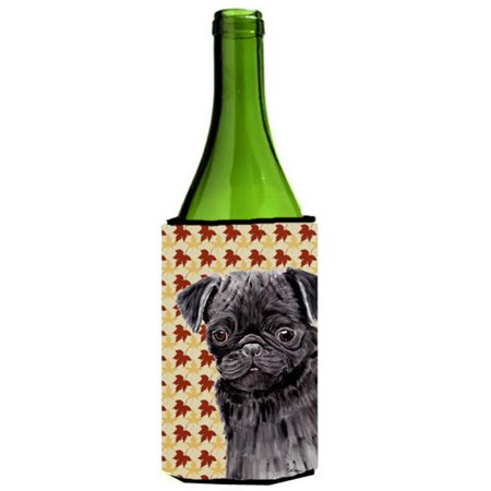 Pug Black Fall Leaves Portrait Wine Bottle   Hugger - 24 oz. - image 1 of 1