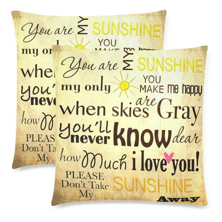 YKCG 2 Pack You Are My Sunshine Word Pillowcase Pillow Cover 18x18 Twin Sides, Vintage Summer Decor Zippered Throw Cushion Pillow Cases Cover Shams Decorative Vintage Throw Pillows