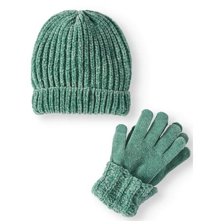 53c66f720d1 TIME AND TRU - Time and Tru Women s Chenille Beanie   Cuff Glove 2-Piece  Set - Walmart.com