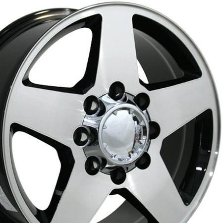 20 Inch 8x165.1 Heavy Duty Silverado Style | Fits Chevy 2500 3500 GMC 2500 3500 | CV91A Gloss Black Machined 20x8.5 Rim | Hollander