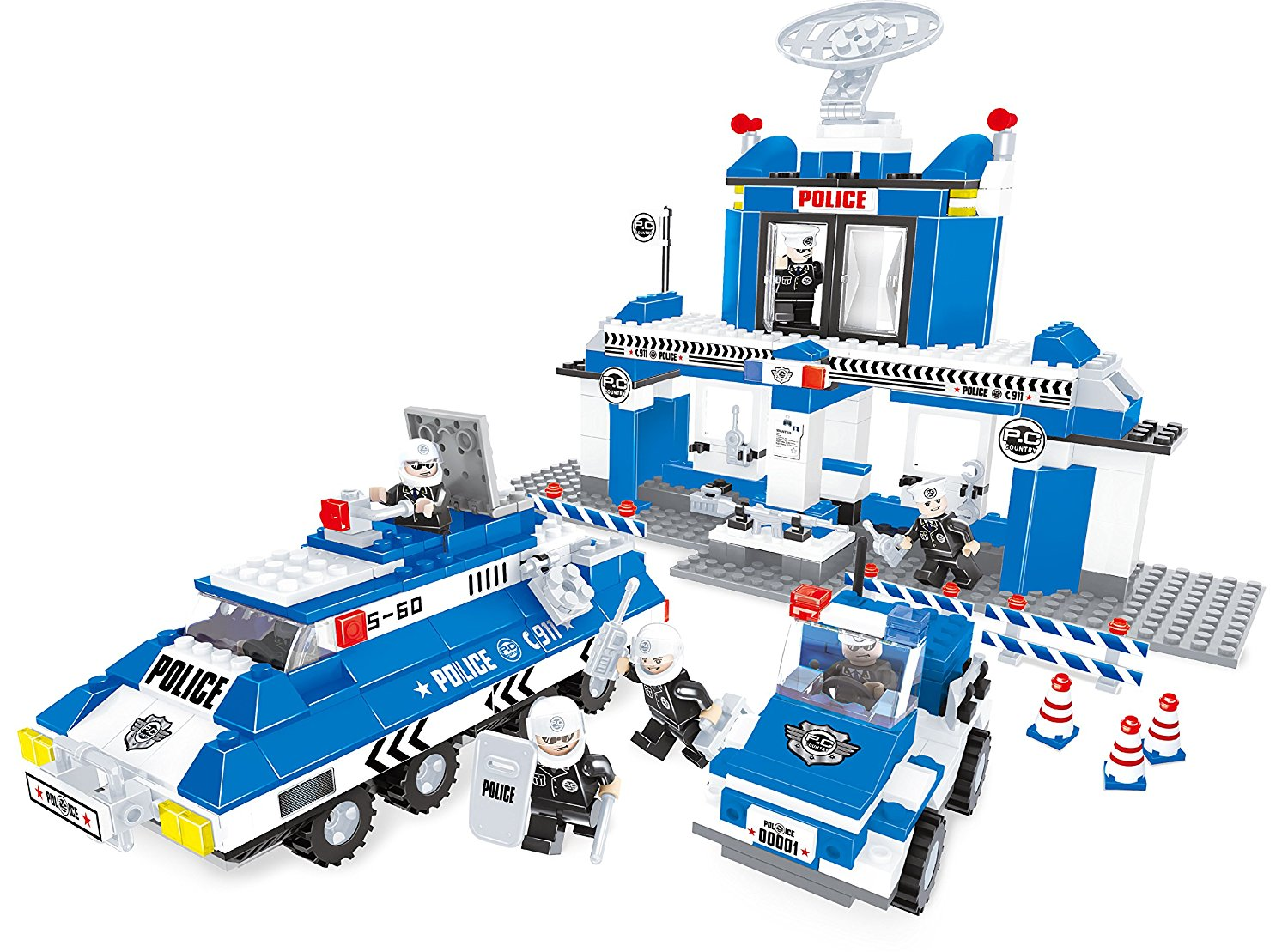 Ausini City Police Head Quarters with Demonstrator Riot Police 567pc Building Blocks Educational Set �� Best... by