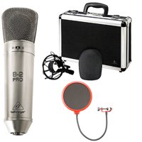 Behringer B-2 Pro Dual-Diaphragm Multi-Pattern Studio Condenser Microphone Bundle with Deco Gear Universal Pop Filter Microphone Wind Screen with Goose Neck Mic Stand Clip