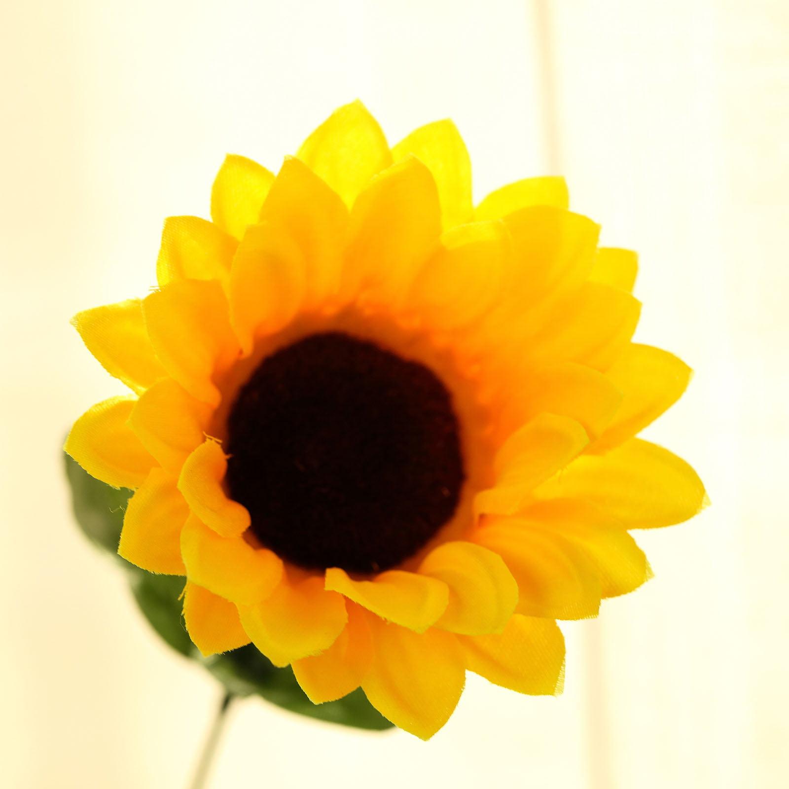 "BalsaCircle 70 pcs Yellow 21"" Tall Artificial Silk Sunflowers - 5 Bushes Wedding Party Event Home Flower Arrangement Decorations"