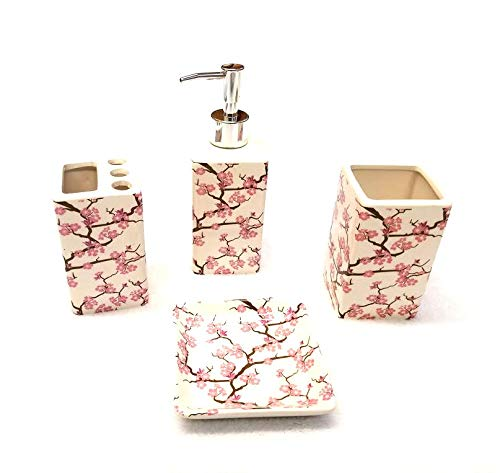 Empire Home Printed 4-Piece Bathroom Accessory Ceramic Set - Lotion Dispenser/Tumbler / Toothbrush Holder/Soap Dish