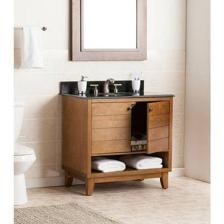 Southern Enterprises Raven Bath Vanity Single Sink with Granite Top, Oak Dresden Bath Vanity