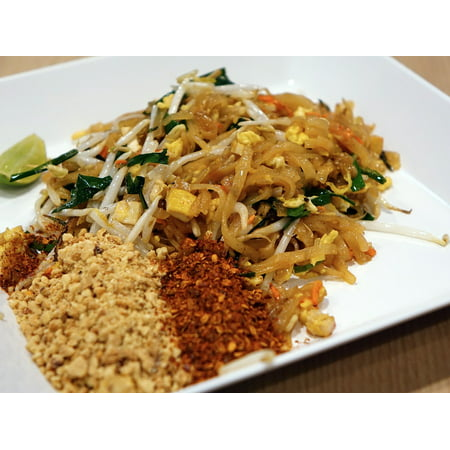 LAMINATED POSTER Noodles Pad Thai Stir Fired Seafood Peanut Poster Print 24 x 36