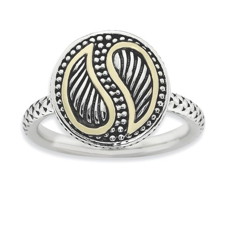 Sterling Silver & 14k Stackable Expressions Antiqued Ring Size 9 - image 3 de 3
