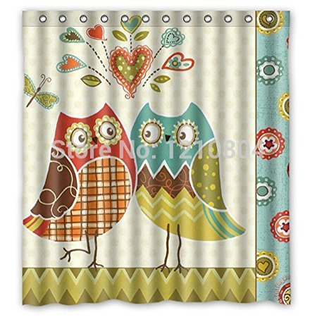 HelloDecor Sparkling Stars Owl Wonderful Cartoon Mores Shower Curtain Polyester Fabric Bathroom Decorative Curtain Size 60x72 Inches (Owl Shower)