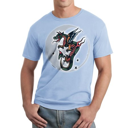 Asian Moon Dragon Vintage Tattoo Piddix Mens Light Blue T Shirt New Sizes S 2Xl