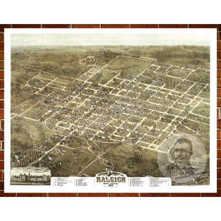 Ted's Vintage Art Map of Raleigh, NC 1872; Old North Carolina Decor 8