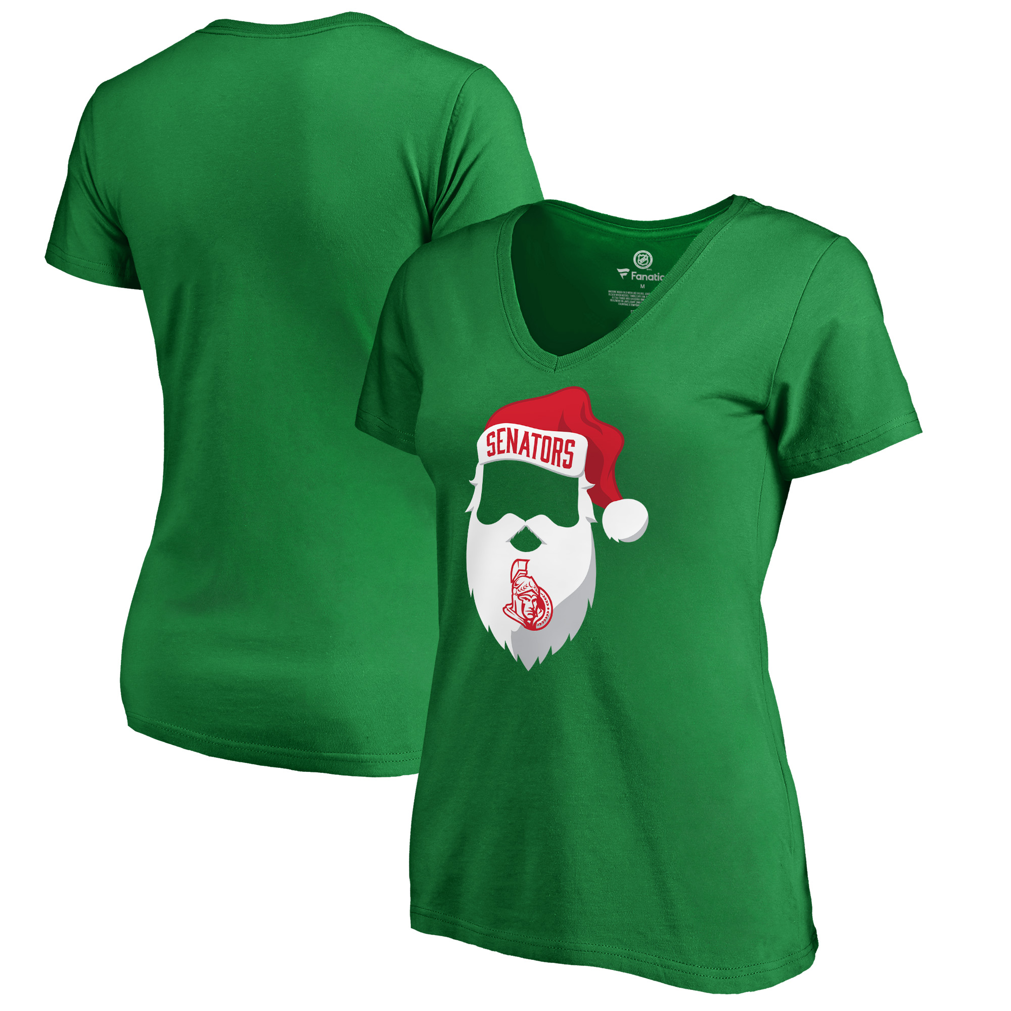 Ottawa Senators Fanatics Branded Women's Jolly Slim Fit V-Neck T-Shirt - Kelly Green