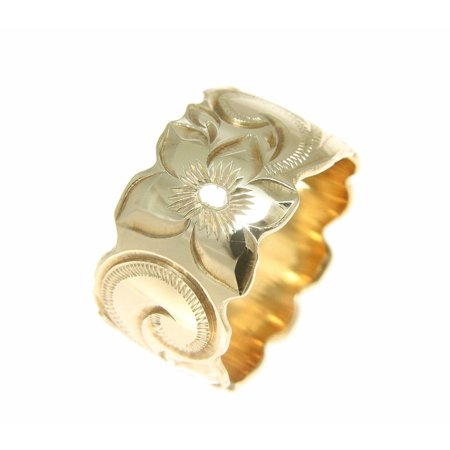 Platinum Hand Engraved Band - 14K yellow gold hand engrave Hawaiian plumeria scroll band ring cut out edge 15mm size 9