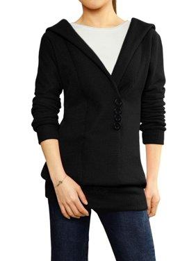 Women's Hoodies Button Embellishment Knit Tunic
