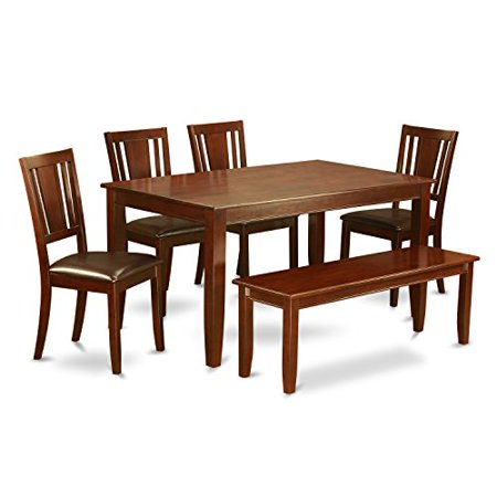 East West Furniture Kitchen Table With Bench Table And 4 Chairs For Dining Room And Bench Finish Mahogany Number Of