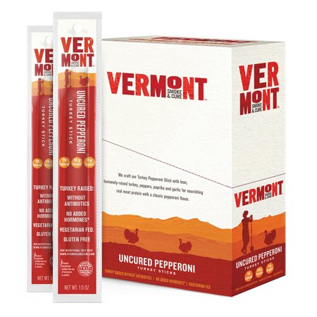 Vermont Smoke   Cure Meat Sticks  Turkey  Antibiotic Free  Gluten Free  Uncured Pepperoni  1Oz Stick  24 Count