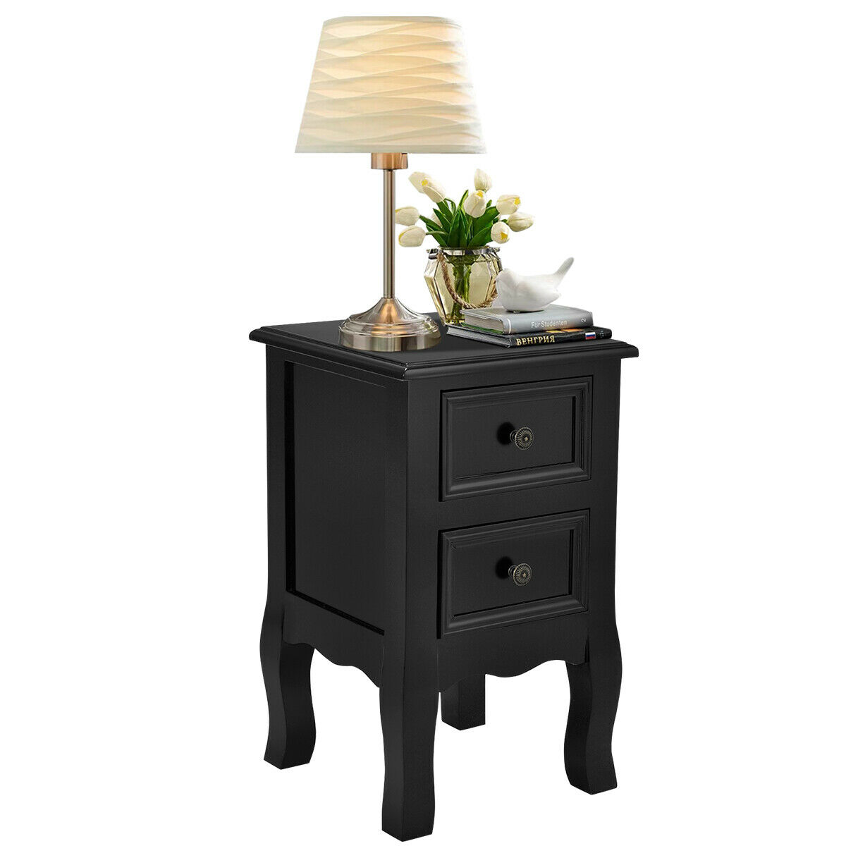 Costway Black Night Stand W 2 Storage Drawers Wood End Accent Table