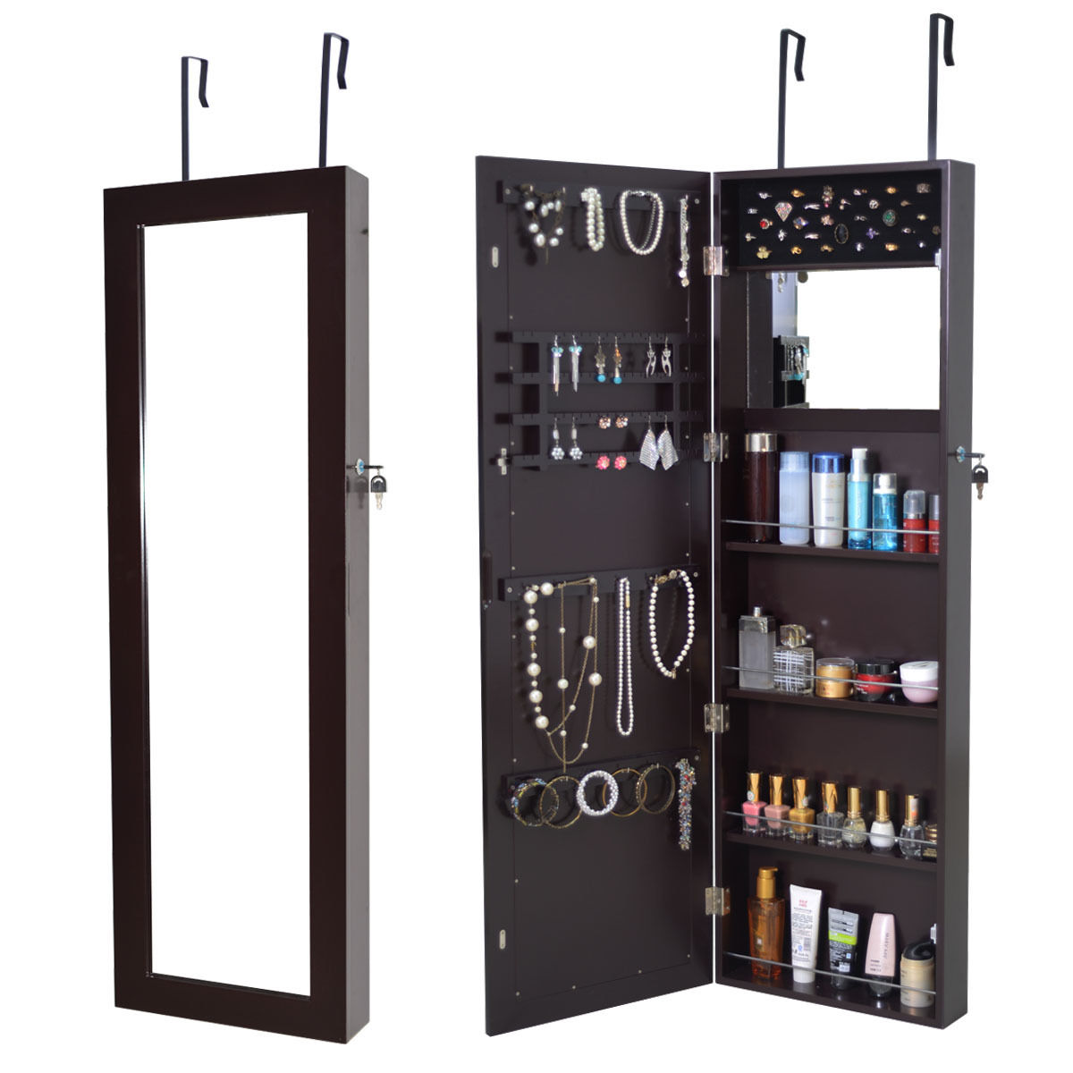 Costway Lockable Wall Mount Mirrored Jewelry Cabinet Armoire Organizer  Storage Box Brown