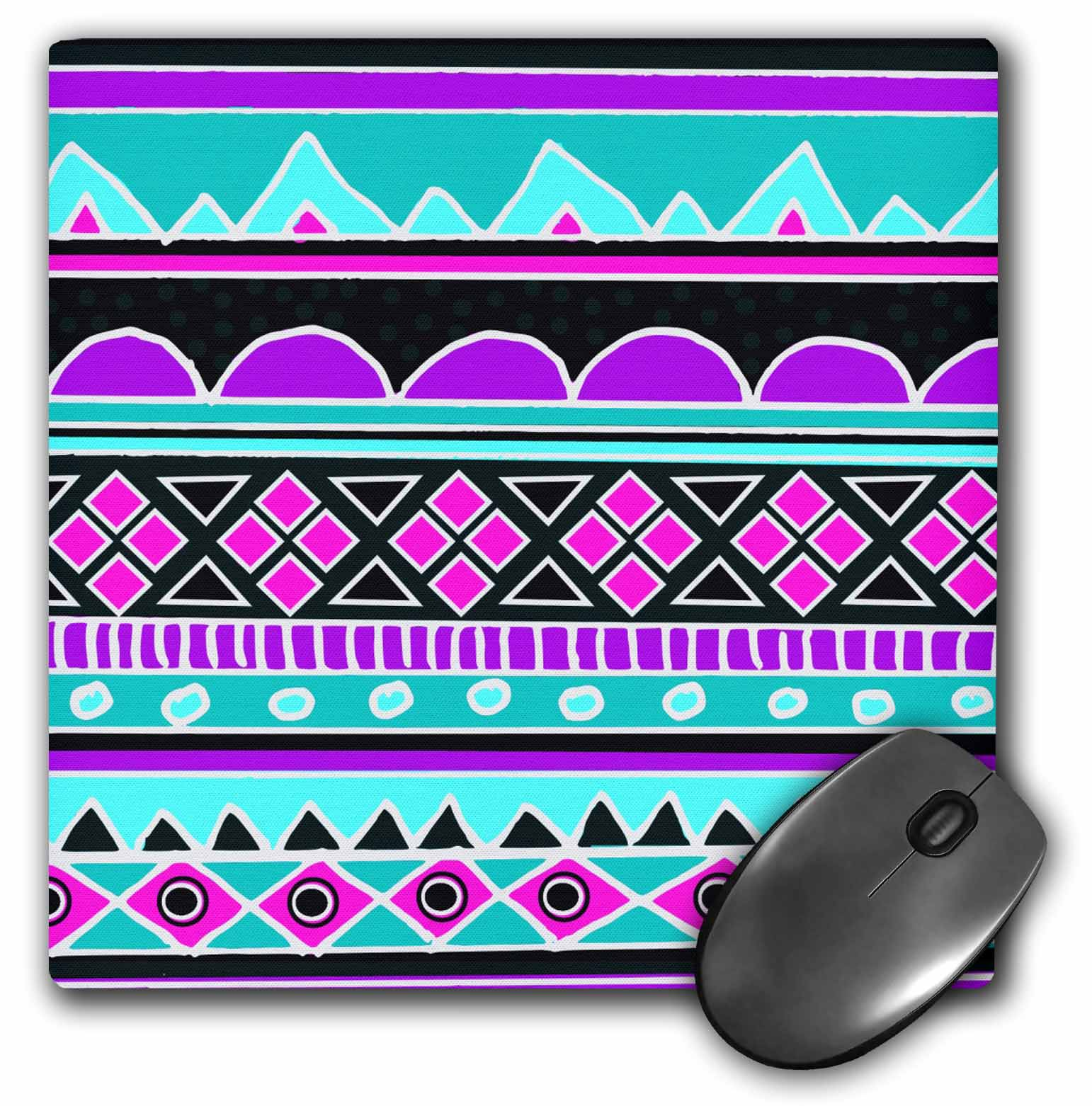 3dRose Bright tribal pattern - neon blue fluorescent hot pink purple black 80s aztec zigzag patterned rows, Mouse Pad, 8 by 8 inches