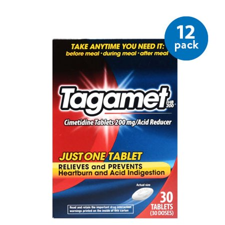 (12 Pack) Tagamet HB 200 Acid Reducer Tablets - 30 CT These Tagamet HB 200 Tablets deliver quick and effective relief from your symptoms. They treat heartburn and acid indigestion that are caused by eating or drinking certain foods and beverages, such as hot and spicy foods. These acid reducer tablets are effective whether you take them before, during or after meals and drinks. Theyre ideal for taking at home, while at a dinner party, at a restaurant, while on vacation and much more.