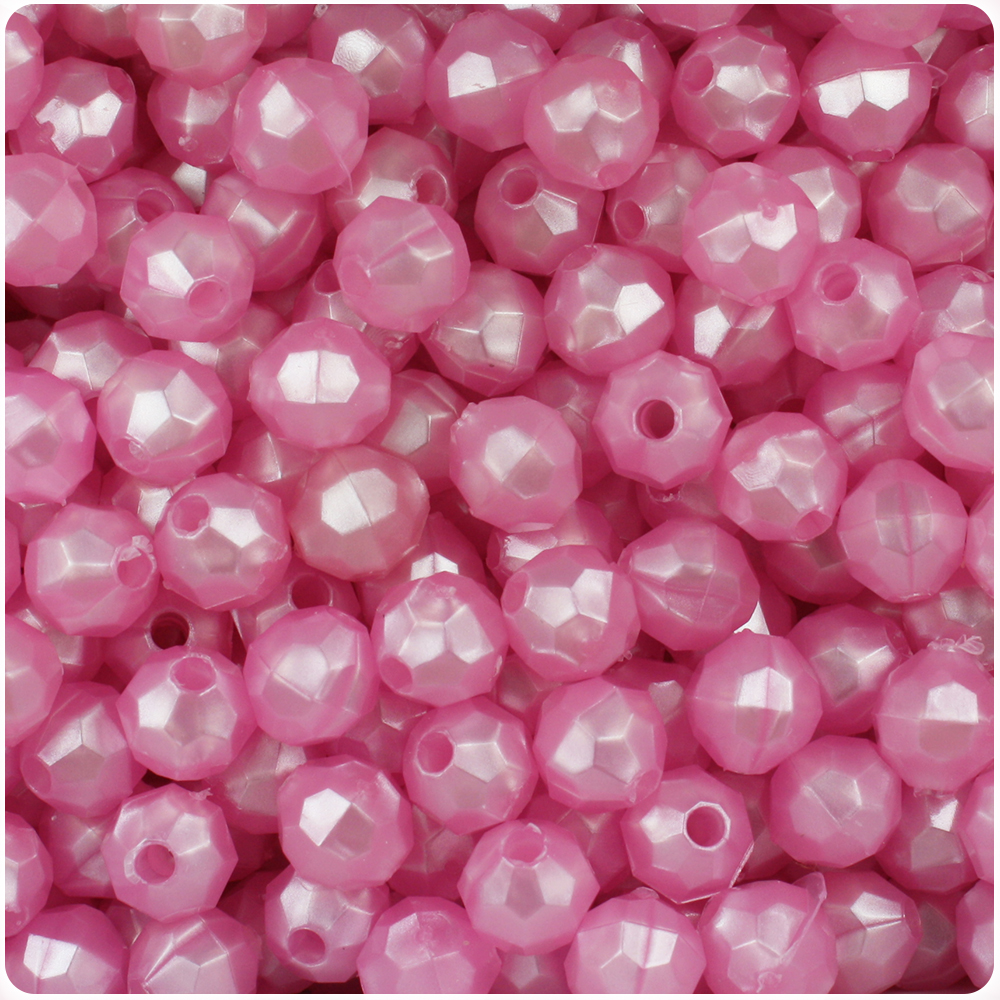BeadTin Light Pink Pearl 8mm Faceted Round Craft Beads (450pcs)