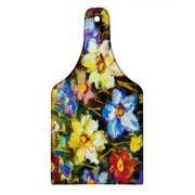 Impressionist Cutting Board, Spring Themed Close up Oil Painting Colorful Flower Field Print, Decorative Tempered Glass Cutting and Serving Board, in 3 Sizes, by Ambesonne