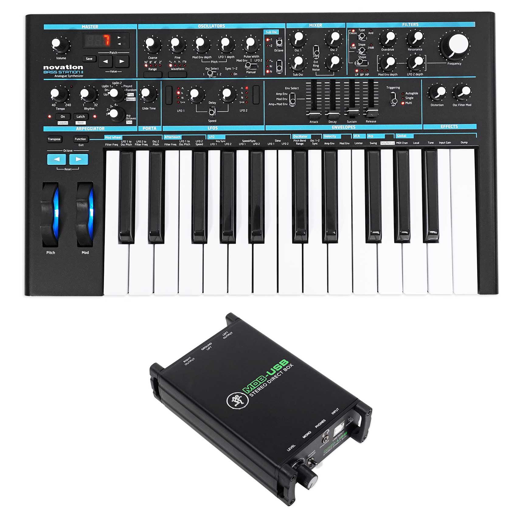 Novation BASS STATION II 25-Key Monophonic MIDI USB Keyboard Synthesizer+DI Box by NOVATION