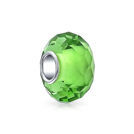 Bling Jewelry 925 Silver Simulated Peridot Glass Faceted Bead Charm