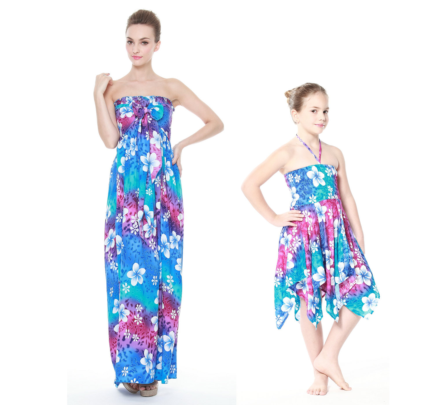 Mother & Daughter Matching Hawaii Luau Dress Girl Gypsy in Rainbow Blue
