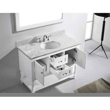 Virtu Usa Julianna 49 Single Bathroom Vanity Set With White Marble Top And Mirror