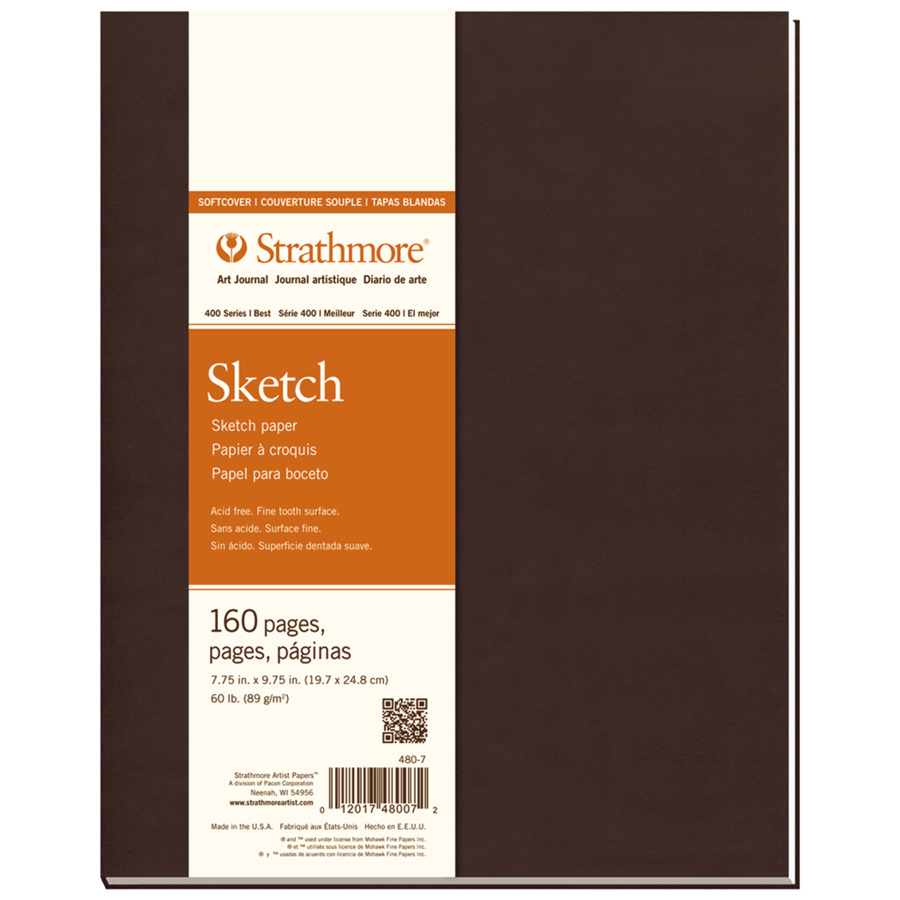 "Strathmore Soft Cover Sketch Art Journal, 400 Series, 160 pages, 7.75"" x 9.75"""