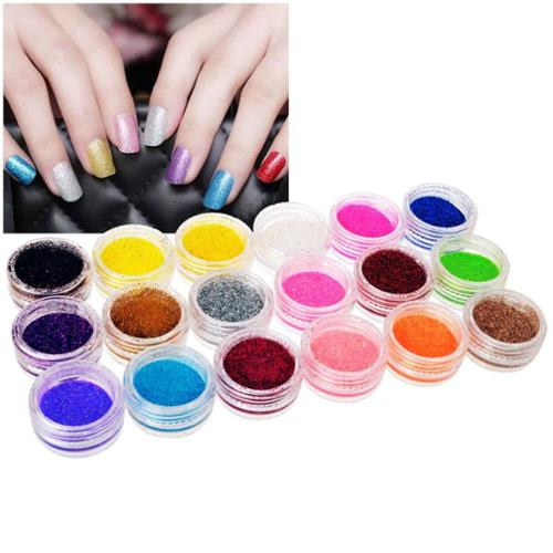 Zodaca 18 Color/Set Nail Art Shiny Glitter Colorful Tips Acrylic DIY Decor Decoration Beautify Bling