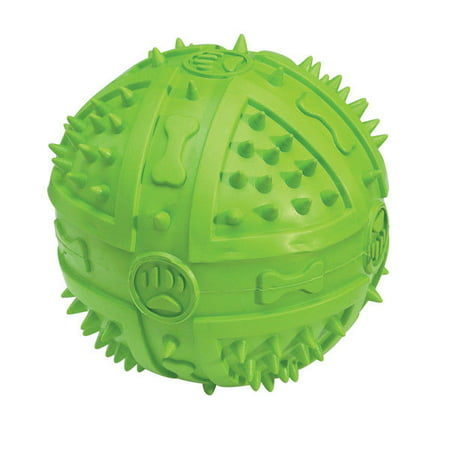 "Chompy Romper Ball Dog Toys Colorful Tough Rubber Dental Chew Squeakers 3 3/4"" (Parrot Green)"
