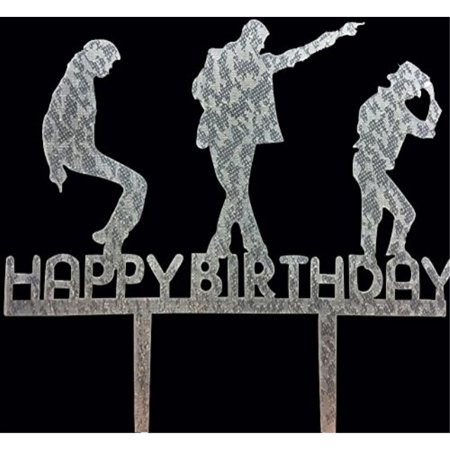 CaJaCa Happy Birthday Silver Cake Topper Michael Jackson Party